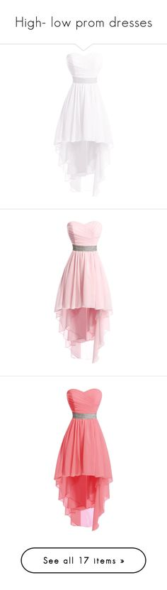 """""""High- low prom dresses"""" by buffaloshoebiz ❤ liked on Polyvore featuring dresses, prom dresses, white high low dress, high low homecoming dresses, white cocktail party dresses, white party dresses, nude, prom homecoming dresses, pink cocktail dress and pink party dress"""