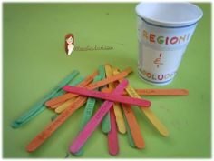 PICK UP REGION - great also for States and Capitals. On one side of the popsicle sticks there is the name on the Region, on  the other side there is its capital. the children dump out the sticks and take turns naming the Region or main city. If they get it right they keep the stick.  They can only pull from the top.