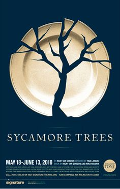 """Sycamore Trees"" by Ricky Ian Gordon at the Signature Theater, Arlington Virginia until June 2010 Love this poster design. It's creative to use the broken plate to form a tree shape. The negative space is working well in this one. Graphisches Design, Logo Design, Shape Design, Flat Design, Design Model, Design Trends, Photomontage, Poster Festival, Poesia Visual"