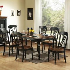 Seven Piece Casual Country Dining Set Homehills Dining Sets Dining Sets Kitchen & Dining F