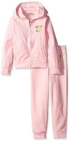 bc66158d81 Juicy Couture Baby Girls  2 Piece Velour Hooded Jacket and Pant Set
