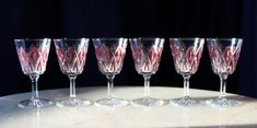 Set Of Six Spectacular Port Or Liquor Glasses Inset With RED DIAMOND Pattern #POSSIBLYLUMINARC