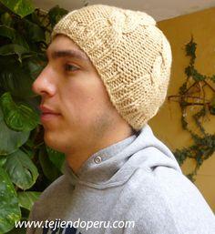 Gorro con trenzas 2 - Tejiendo Perú Knit Beanie, Headbands, Knitted Hats, Winter Hats, Cap, Knitting, Women, Berets, Color Beige
