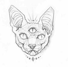Geometric tattoo - sketch of a cat tattoo . - Geometric Tattoo – Sketch of a Cat Tattoo… – Tattoos – tattoos - Tattoo Sketches, Tattoo Drawings, Body Art Tattoos, Cat Tattoos, Tattoo Gato, Sphynx Cat Tattoo, Geometric Tattoo Sketch, Geometric Tattoos, Cat Sketch