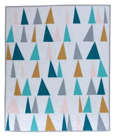 New Modern Baby Quilt - Geometric Triangles / White / Blue / Yellow / Pink / Floral / Flowers / Striped Binding