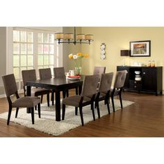 @Overstock.com - Catherine Espresso 7-pc Dining Set with Removable Leaf - Add a modern edge to your meals with this espresso dining set. The removable leaf lets you easily switch from small family dinners to a large dinner parties. The chairs are made with extra padding, so your guests will be comfortable.  http://www.overstock.com/Home-Garden/Catherine-Espresso-7-pc-Dining-Set-with-Removable-Leaf/5710981/product.html?CID=214117 $1,545.99