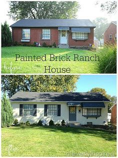 ideas exterior paint colora for house ranch brick front porches for 2019 Ranch Exterior, Exterior Remodel, Exterior Paint, Modern Exterior, Exterior Shutters, Exterior Signage, Exterior Trim, Black Exterior, Exterior Lighting