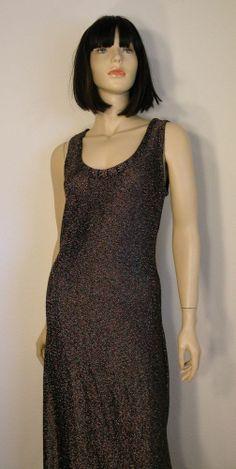 #Vtg 80s Glam Diva Black Rainbow Sparkle Sexy Sleek Metallic Maxi Dress Sz 14 EXC #glitter #glam #diva #70s #Maxi #dress