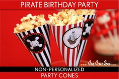 Pirate Birthday Party -  Party Cones and Bonus: Mini Hershey Wrappers NonPersonalized Printable // Pirate Girl - B8Nm on Etsy, $5.00