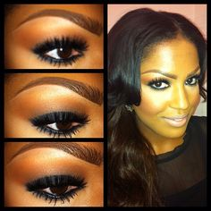 smokey eye! Blacktrack all over the lid with carbon #eyeshadow on top. Crease: saddle, carbon. Blush: blunt. Face highlight: sculpting powder. Lips: pure zen