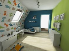 Minimal house Baby boy nursery by Magdalena Szyncel, via Behance Boys Bedroom Decor, Bedroom Green, Green Rooms, Girls Bedroom, Minimal Home, Baby Boy Nurseries, House Rooms, My Room, Minimalism