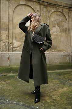 Moye silk kimono, Reserved coat, Zofia Chylak bag, La Mania patent leather boots