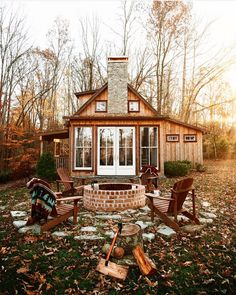 Cosy cabin with patio - Architecture and Home Decor - Bedroom - Bathroom - Kitchen And Living Room Interior Design Decorating Ideas - Future House, Cabins And Cottages, Small Cabins, Log Cabins, Rustic Cabins, Cabin Homes, Tiny Homes, House Goals, Style At Home