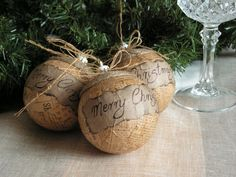 Rustic Christmas ornament. These would look great on the tree. Find some rustic paper and modpodge away.
