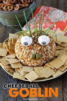 This recipe starts as a delicious Chicken Ranch Cheese Ball and is turned into a ghoulish goblin! Borden Cheese helps make it even better! Halloween Dishes, Halloween Desserts, Halloween Treats, Spooky Halloween, Halloween Party, Halloween Appetizers, Halloween Foods, Halloween Decorations, Tapas