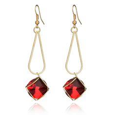 2017 new fashion 4-color glass crystal earrings geometric gold earrings fashion jewelry #Affiliate