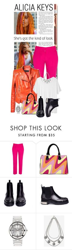 """""""Alicia Keys.. Happy Friday!!"""" by shortyluv718 ❤ liked on Polyvore featuring STELLA McCARTNEY, Alexander McQueen, Charriol, Express, anklebooties, whitetee, leatherskirt, rainbowhair and alicakeys"""