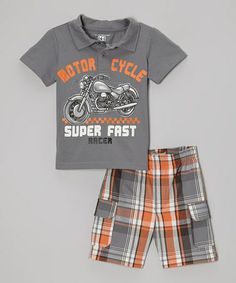 Look what I found on #zulily! Gray 'Super Fast' Polo & Plaid Shorts - Infant, Toddler & Boys #zulilyfinds