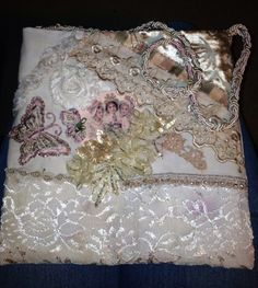 """I ❤ crazy quilting & embroidery . . . Hand-made, dyed vintage lace, applique hand bag/purse #2, pink/green/tea stain cotton lining. roughly 8"""" squarish ~By Kathy Staples, kathryns55"""