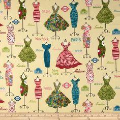 Dress Up Dressed Mannequins Vintage Teal - Discount Designer Fabric - Fabric.com