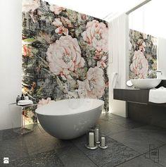 Łazienka / apartament Katowice / 11m2 - Łazienka, styl nowoczesny - zdjęcie od Laura Zubel ARCHITEKT WNĘTRZ luxury bathroom | elegance | roses | mosaic | wall decor | ideas | inspiration