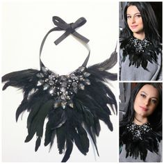 Beaded Statement Costume Necklace OneofakindBlack by Diomios