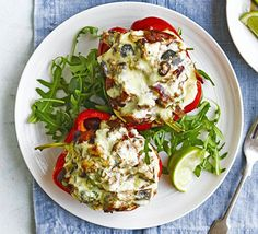 A satisfying vegetarian supper that packs in 4 of your 5-a-day. Stuff peppers with cream cheese, beans, aubergine and feta