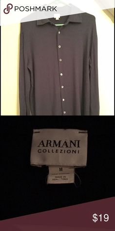 Armani Collezioni men's shirt Excellent condition men's Armani Collezioni shirt. 95% modal 5% spandex. It's a very dark navy blue even though it looks black in the picture.      Similar shirt on Nordstrom for over $200 (please note the picture from Nordstrom is not the same shirt. Just a similar style for comparison) Armani Collezioni Shirts Dress Shirts