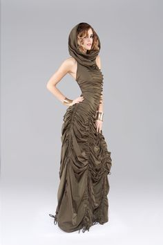 Cowled String Dress