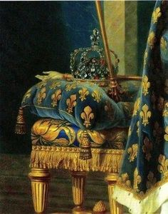 Teal and gold fleur-de-lis, royal pillow and drapery