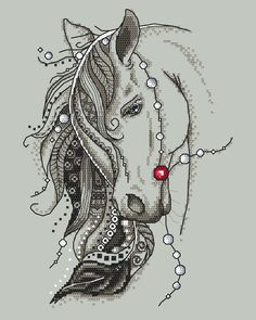 Beautiful horse with a feather - digital cross stich pattern, Gypsy horse PDF - Pferd Cross Stitch Horse, Butterfly Cross Stitch, Cross Stitch Animals, Counted Cross Stitch Patterns, Cross Stitch Designs, Motifs Blackwork, Blackwork Embroidery, Cross Stitch Embroidery, Gypsy Horse