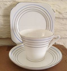 Art Deco trio cup and saucer with side by MerryLegsandTiptoes