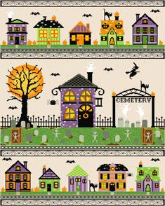 Happy Halloween from Epic Stitchery! This spooktacular village is our BIGGEST pattern yet. The finished product measures approx. inches on 16 count fabric and uses DMC thread. *Smaller sections are available individually in our Halloween section. Fall Cross Stitch, Cross Stitch House, Cross Stitch Kits, Cross Stitch Designs, Cross Stitch Patterns, Halloween Village, Holidays Halloween, Happy Halloween, Halloween House