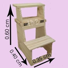 banco escalera 3 escalones de pino reforzado
