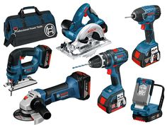 Bosch 18V Professional 6 Piece Power Tool Kit With 3 x 4.0Ah Li-Ion Batteries in LBAG. Including Combi Drill, Circular Saw, Jigsaw, Torch, Impact Driver, 115mm Mini Angle Grinder