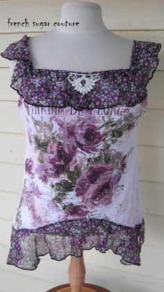 "French Sugar Parisian ""Jardine De Flores""  Up-cycled Tank Top- Altered Couture - Size Medium"