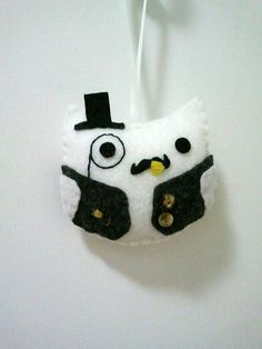 Sir Hootsalot (or Sketchy Dr. Charles?) Felt Ornament by heartfeltbymsmegas on Etsy, $11.50