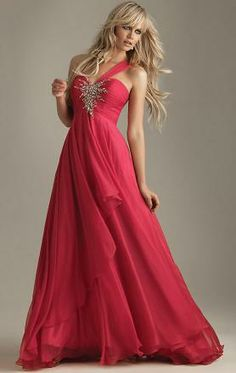 Watermelon Chiffon A-line One-shoulder Empire Long Prom Dress(LFNAE0023)