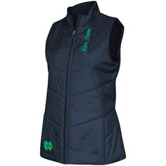 adidas Notre Dame Fighting Irish Womens Quilted Full Zip Vest - Navy Blue