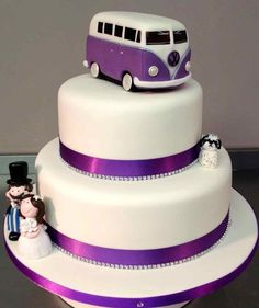Who wouldn't want a purple VW Bus on their cake!?