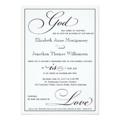 Christian Wedding Invitations God Is Love Christian Script Wedding  Invitation