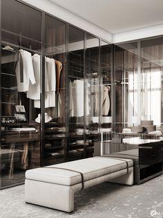 Walk In Closet Design, Bedroom Closet Design, Wardrobe Design, Closet Designs, Master Bedroom, Master Suite, Casa Retro, Wardrobe Room, Modern Closet