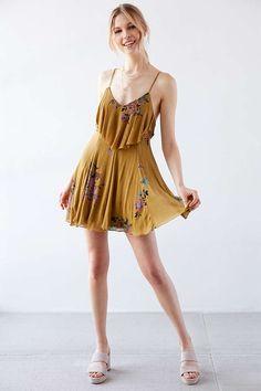 Ecote Mustard Seed Ruffle-Neck Knit Dress - Urban Outfitters