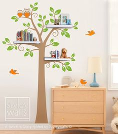 Shelves Tree Decal Children Wall Decal Shelf Tree by styleywalls