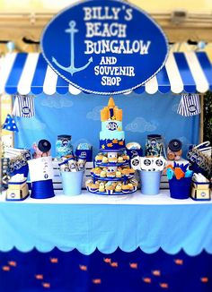 Beach Party Dessert Table - But I want an awning like this for the sweet shop!