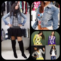 Blouse lozenges and jacket jeans