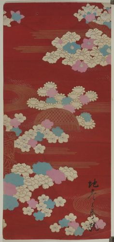 These beautiful prints are salesman's samples of kimono cloth designs. Salespeople would bring these pieces to kimono makers in order to showcase the different patterns available. With its origins as