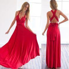 Hot 2016 summer sexy women maxi dress red bandage long dress sexy Multiway Bridesmaids Convertible Dress robe longue femme (9)