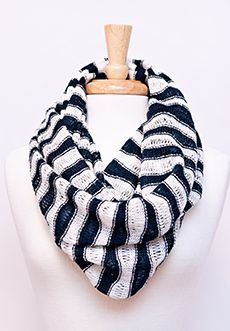 Homecoming Trunk Shows - This lightweight knit infinity scarf is made with ultra-soft yarn - solid stripes of navy contrast against white ones, giving a loose nautical feel, while giving you warmth and style.     - Loop/Infinity Style  - Acrylic   - Hand wash  - Imported