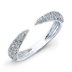 14KT White Gold Diamond Horn Ring